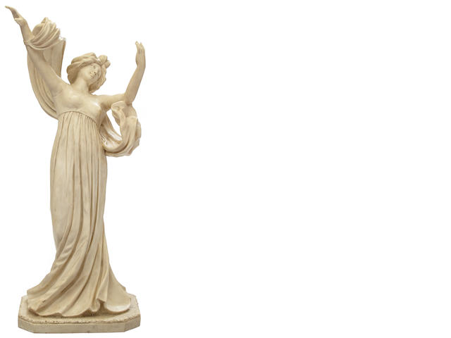 An Art Nouveau carved marble figure of a robed maiden