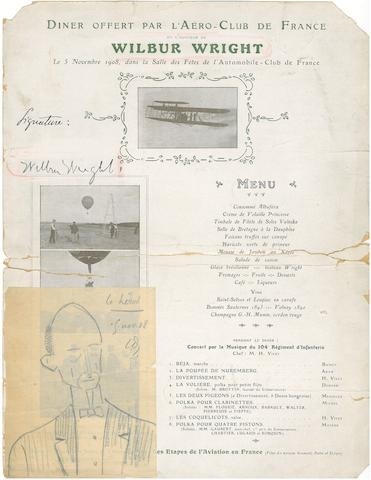 "1908 PARIS DINNER MENU—SIGNED BY WILBUR. Single-sheet menu, ""Diner offert par l'Aéro-Club de France en l'honneur de Wilbur Wright,"" 12 x 9½ inches,"