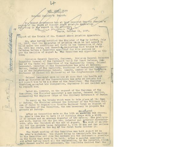 "WILBUR WRIGHT'S TYPED DRAFT OF AN ESSAY. Typed Manuscript Signed (""Wilbur Wright"") at foot of the final page, 10 pp, 11 x 8½ inches, [Dayton, 1912],"