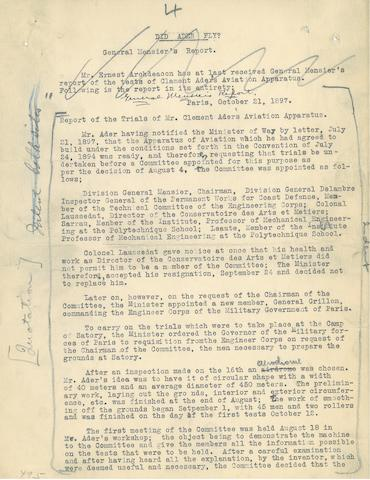 """WILBUR WRIGHT'S TYPED DRAFT OF AN ESSAY. Typed Manuscript Signed (""""Wilbur Wright"""") at foot of the final page, 10 pp, 11 x 8½ inches, [Dayton, 1912],"""