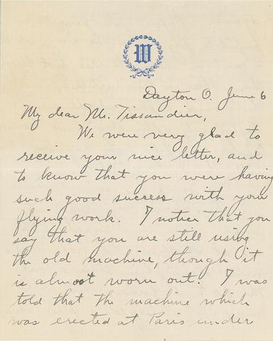 "WILBUR WRIGHT TO PAUL TISSANDIER. ""YOU WILL BE RECORDMAN OF THE WORLD!""  Autograph Letter Signed (""Wilbur Wright""),"