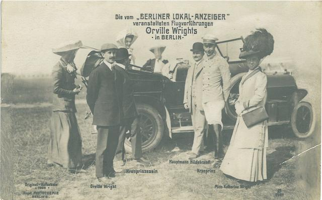 ORVILLE WRIGHT IN BERLIN, 1909. Group of photographs, postcards, and a document relating to Orville Wright's activities in Berlin, Germany, September 4-20, 1909.