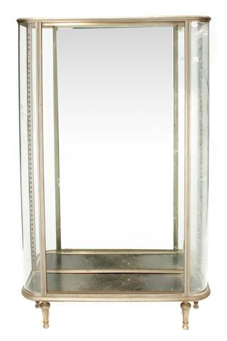 An Art Deco polished steel vitrine cabinet