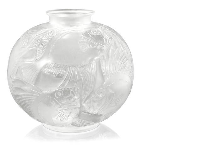 A René Lalique molded and frosted glass vase: Poissons Marchilhac 925, model introduced 1921