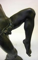 A French patinated bronze figure of bacchant <BR />Eugène Désiré Piron (French, 1875-1928)<BR />early 20th century