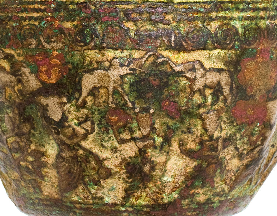 A copper alloy cup with pastoral scenes India, 2nd century BCE-1st century CE