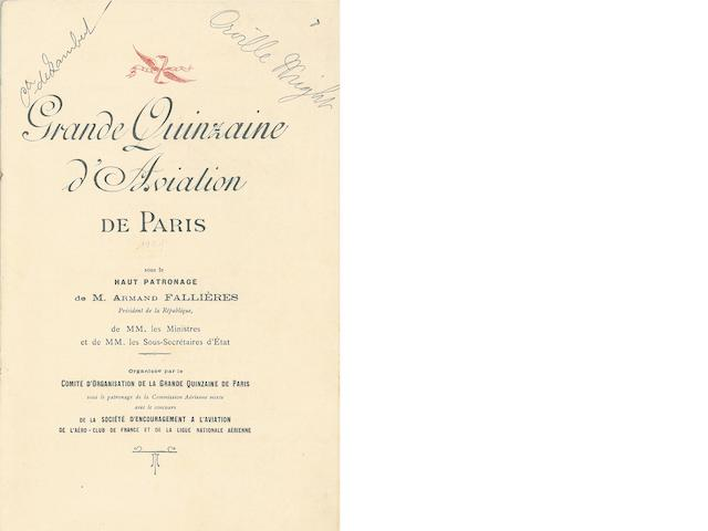 FALL 1909 PARIS AIR RACE—SIGNED BY ORVILLE. 1. Official program for the Grande Quinzaine d'Aviation de Paris, October 7-21, 1909, printed in red and black throughout, original textured paper wrappers,