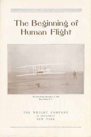 BEGINNING OF HUMAN FLIGHT—ORVILLE'S COPY. The Beginnings of Human Flight. New York: [the Wright Company, 1916].