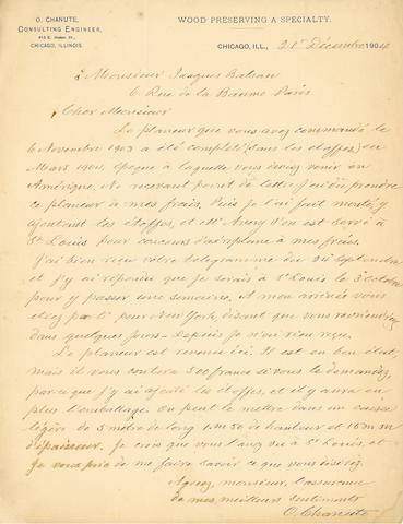"""CHANUTE AND THE FIRST AIRCRAFT SOLD TO FRANCE. CHANUTE, OCTAVE. 2 Autograph Letters Signed (""""O. Chanute""""), 2½ pp recto and verso, in French,"""