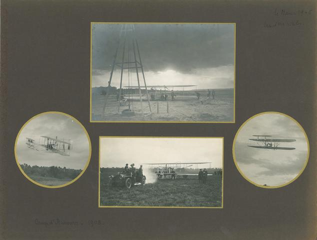 WRIGHT AT CAMP D'AUVOURS, AUGUST 1908. Group of 8 black and white photographs, 4 x 5 inches and smaller, mounted on 2 album leaves.