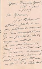 "AN ITALIAN WRIGHT PILOT TO ANOTHER. CALDERARA, MARIO. Autograph Letter Signed (""Mario Calderara""), in French, 8 pp recto and verso,"