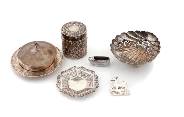 An assembled group of Chinese Export  silver  accessories, hollowware and table articles by various makers,  late 19th / 20th century