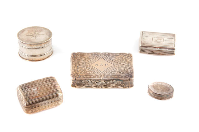 An assembled group of English sterling silver boxes and accessories by various makers, 18th/19th century