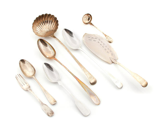 An assembled group of British sterling silver flatware by various makers, 18th/19th century