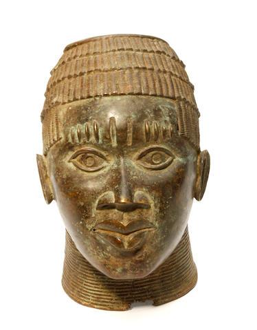 A Benin bronze bust