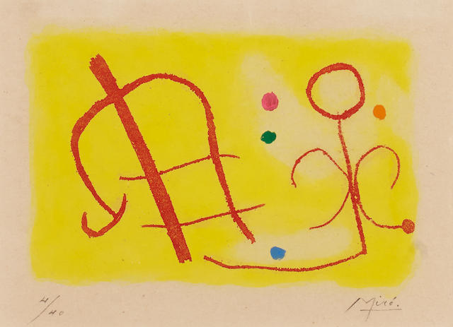 Joan Miro (Spanish, 1893-1983), Nous avons (D. 258), 1959, signed in pencil (lower right) and numbered '4/40' (lower left), aquatint, 4 x 5 3/4in