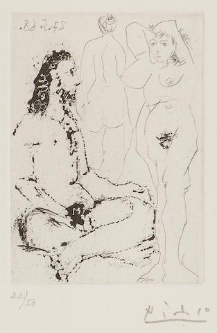 Pablo Picasso (1881-1973); Homme nu assis en Tailleur, Pl. 121, from Séries 347;