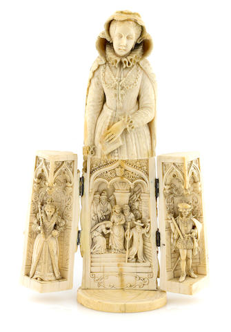 A French carved ivory tryptich figure of Mary, Queen of Scotts, Dieppe, second half 19th century (damage to veil)