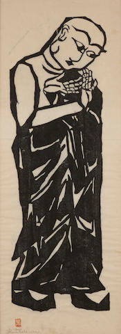 Shiko Munakata (1903-1975); Ananda, pl. 9, from Two Bodhisattva and Ten Great Disciples of Sakyamuni;