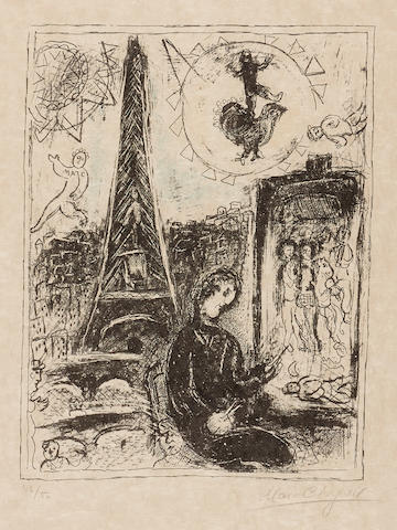 Marc Chagall, The Painter at the Eiffel Tower, (M. 949), 1979, Color lithograph, Signed and numbered 46/50