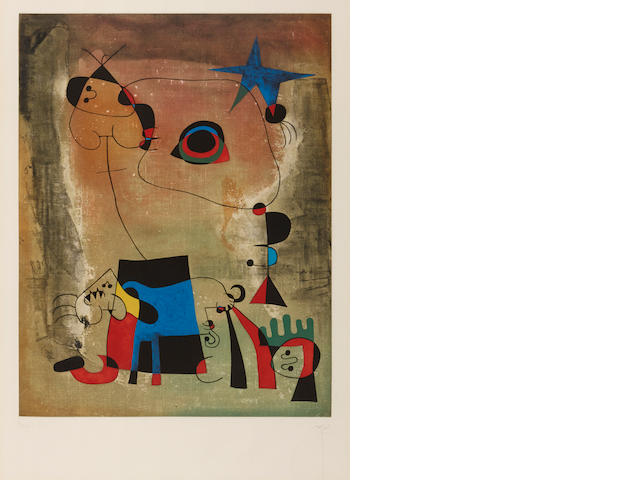 After Joan Miro, Le Chien Bleu, (M 1714), c. 1960, Color aquatint and etching, Signed and numbered 34/300