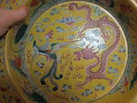 A famille jaune enameled porcelain wash basin with dragon and phoenix decoration <BR />Republic period