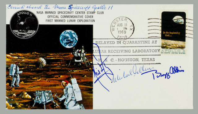 POSTAL COVER TAKEN TO THE MOON—APOLLO 11. Flown postal cover, postmarked at Webster, TX, August 11, 1969.