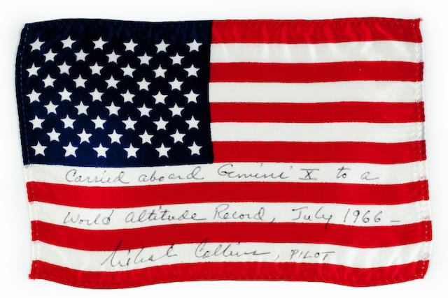 AMERICAN FLAG CARRIED ON GEMINI 10. Flown United States flag, made from silk, 4 by 6 inches,