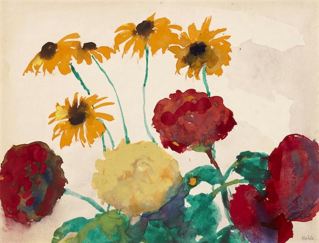 EMIL NOLDE (1867-1956) Bauernrosen und rudbeckien 14 1/8 x 18 1/8in. (35.7 x 46.1cm)