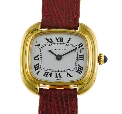 An eighteen karat gold and leather strap wristwatch, Cartier