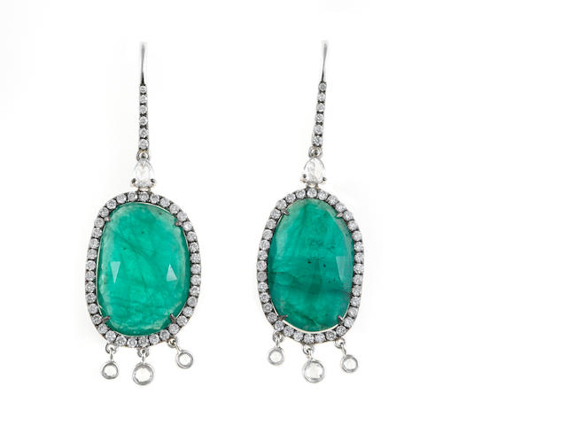 A pair of emerald and diamond pendant earrings