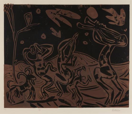 Pablo Picasso, Les Danseurs au Hibou, linocut, ed. 32/50