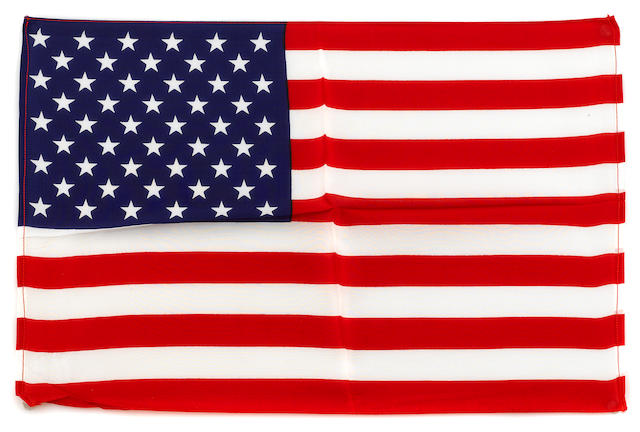 LARGE US FLAG CARRIED ON APOLLO 15. Flown United States flag, silk, 11 x 17 inches.