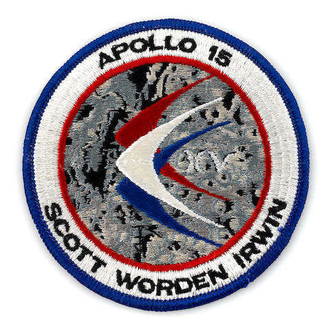 CREW PATCH—CARRIED TO THE LUNAR SURFACE. Flown Apollo 15 emblem, cloth, 4 inches in diameter.