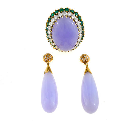 A lavender jade, emerald and diamond ring together with a pair of coordinating fourteen karat gold pendant earrings