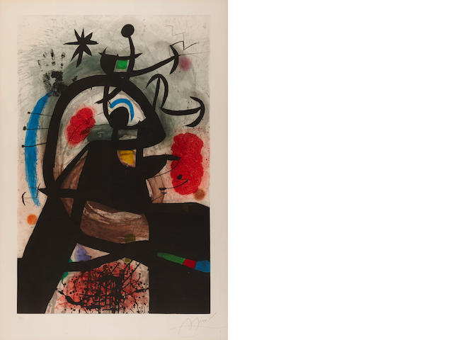 Joan Miró, Le Permissionaire Etching with aquatint and carborundum printed in colors, 1974, signed in pencil, numbered 27/50. Published by Maeght, Paris, on wove paper, with full margins. 44¾ x 29¼ inches