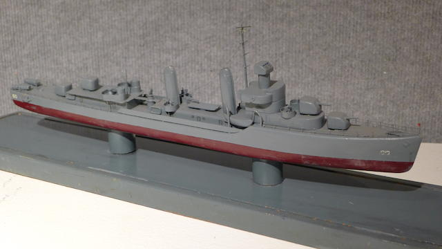 A display standard model of the destroyer U.S.S. Hobby  circa 1945 16 in. (40.6 cm.) length of model