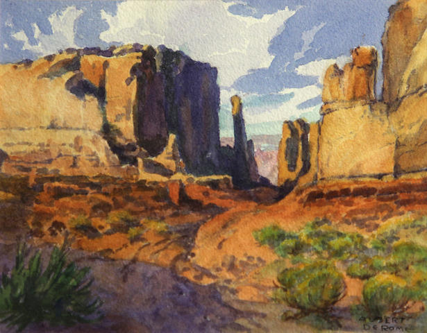 Albert Thomas DeRome (American, 1885-1959) Entrance to Side Valley, Monument Valley in the distance sight: 6 x 7 3/4in