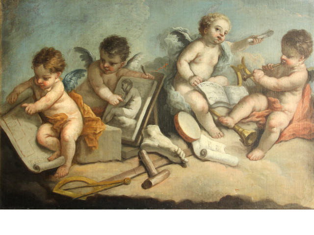 Italian School  SENDING TO BK Putti with attributes of the Arts 19 x 28 1/4in