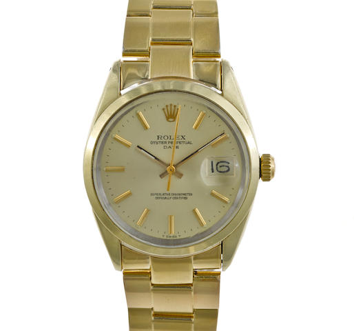 A gold-plated automatic bracelet wristwatch, Rolex