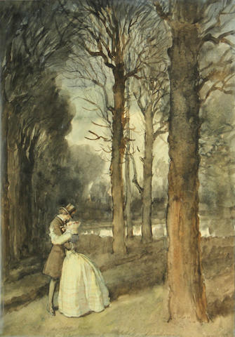 Hugh Thomson (British, 1860-1920) The lovers in the forest sight, 16 1/4 x 11 1/2in