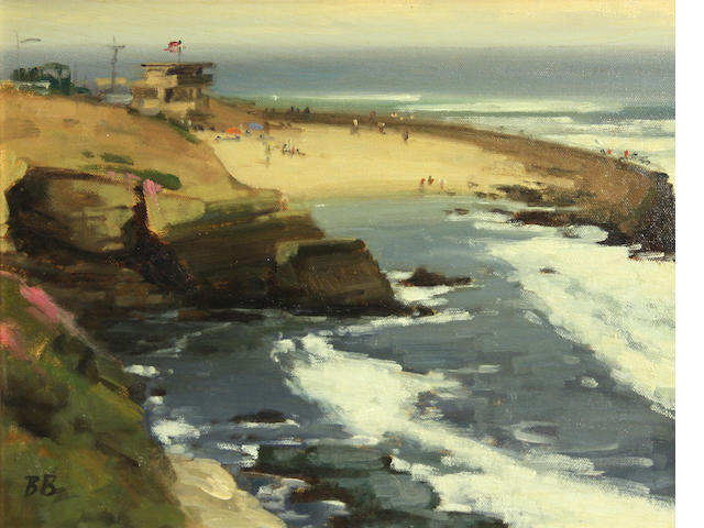 Brian Blood (American, born 1962) Children beach, La Jolla 11 x 14in