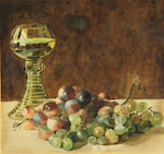 Charles Maurice Detmold (British, 1883-1908) A still life with a basket of fruit; A still life with a goblet and a bunch of grapes (2) first, sight, 8 1/2 x 13in; second, 8 3/4 x 8 1/2in