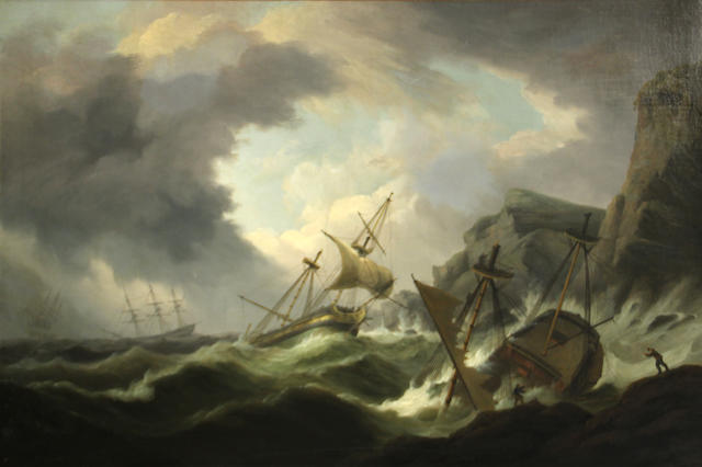 19th Century English School, The Shipwreck, oil on canvas, 34 x 51in