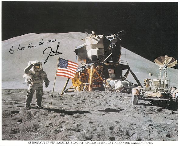 IRWIN, OLD GLORY, AND MOUNT HADLEY—SIGNED. Color photolithograph, 8 x 10 inches, with a printed caption along the bottom margin.