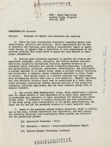"SCHIRRA'S APOLLO CREW SELECTION MEMO. THE BEGINNING OF THE ASTRONAUT ""PECKING ORDER."""