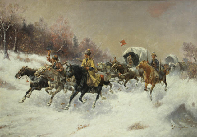 Attributed to Adolf Constantin Baumgartner-Stoiloff (German/Austrian, 1850-1924) Cossacks 27 3/4 x 39 1/2in