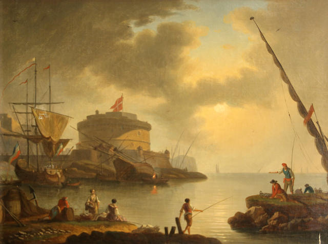 Manner of Claude Joseph Vernet A seaport with figures fishing in the foreground 21 1/4 x 26 1/4in