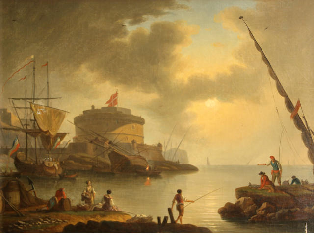 Follower of Claude Joseph Vernet (French, 1714-1789) SENDING TO BK A seaport with figures fishing in the foreground 21 1/4 x 26 1/4in