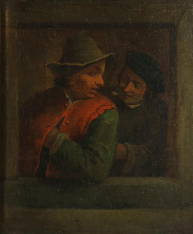 Dutch School, 17th Century  SENDING TO BK Two figures at a window 9 x 7 1/4in (22.8 x 18.3cm)